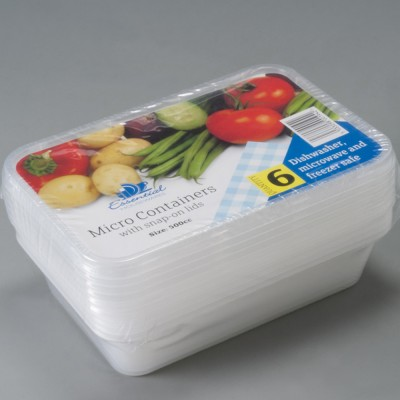 Essential micro containers and lids 500cc pack of 6